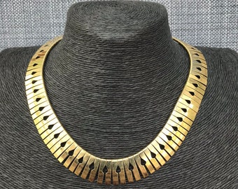 Vintage Retro Jewellery 1970s Art Deco Egyptian Revival Style Goldtone Collar Necklace Choker Statement