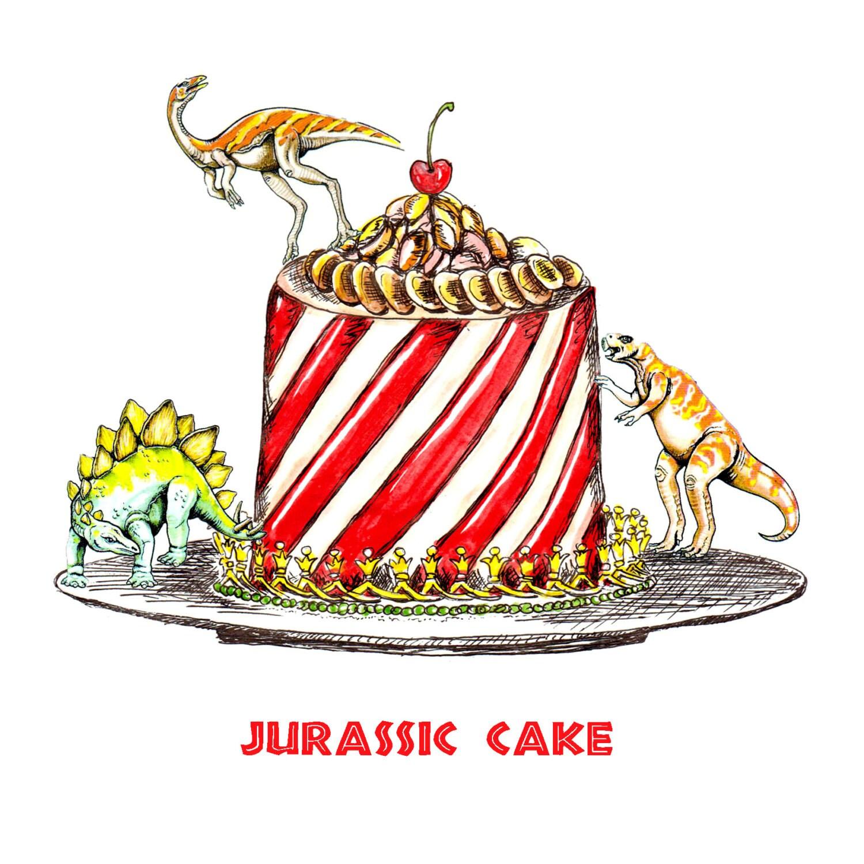 Funny dinosaur happy birthday cake card Jurassic Cake