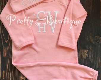 Newborn Girl Coming home outfit  Monogram gown and hat - Monogramed newborn gown and gown