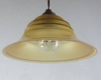 Stunning Art Deco lampshade, French vintage lighting, pendant light, ceiling light, amber glass lampshade, gold detail, 3 available,