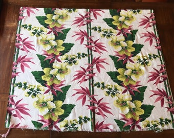 Vintage Tropical Barkcloth Curtains ~ Two (2) Pieces ~ Great Condition! Made by Markwood Fabrics