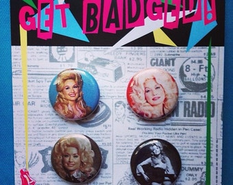 Dolly Parton 1 inch badge set of four