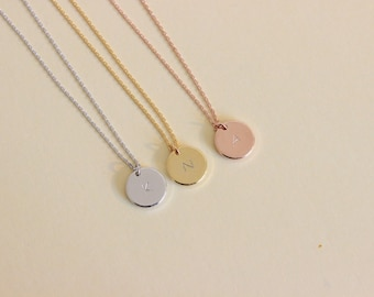 Initial necklace, Letter necklace, bridesmaid gift, silver gold rose gold dainty initial disk necklace, delicate necklace, gift for friend.