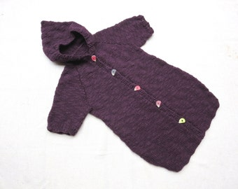 Hand Knit Baby Sleeping Bag - Extra Fine Merino Wool - Funny Buttons - 0M to 12M