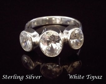 Sterling Silver Ring set with 3 White Topaz Gemstones on a Narrow Band | Silver Ring Size 9.5 US | Gifts for Women, Jewelry, Gift Idea, 256