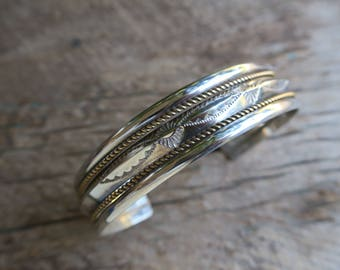 Vintage Stamped Sterling Cuff With Gold Fill. Native American Vintage Sterling Silver Cuff. Boho Bohemian Women's Jewelry. E0010