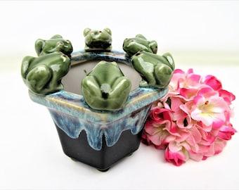 Vintage Drip Glaze Vase   Frog Vase   Frog Pot   Sponge Holder   Frog Pottery   Kitchen Scrubbie Holder   Indoor Garden