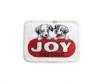 """Vintage Joy Dog Food Puppy Chow Embroidered Patch 3.5"""" x 2.5"""""""