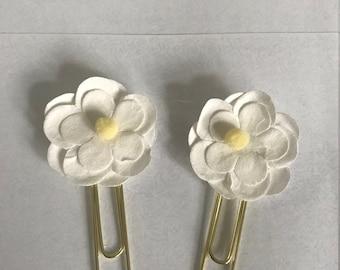 White Flower Planner Clip