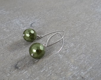 Olive Green Faceted Pearl Dangle Earrings with Sterling Silver Ear Wires