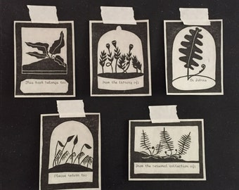 Relief Printed Fern & Moss Bookplates