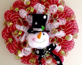Raz top hat etsy extra large snowman with black top hat fireplace deco mesh christmas wreath handmade 28 inches teraionfo
