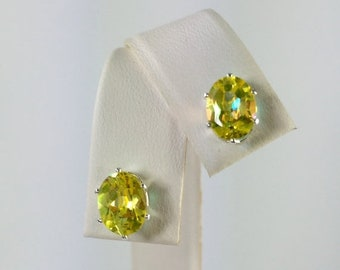 MothersDaySale Yellow Mystic Topaz 8x6mm 3.20ctw Sterling Silver Gemstone Studs