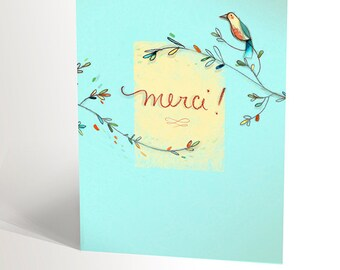 Thank you note   many thanks card   illustration of a bird with blue background   4,25'' X 5,5''