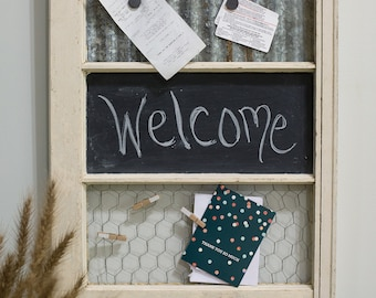 Reclaimed Vintage Window Chalkboard Magnet Message Board