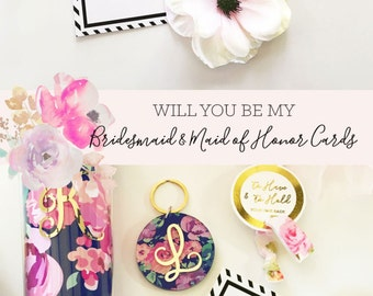 Will You Be My Bridesmaid Card Set Bridesmaid Proposal Card Will You Be My Maid of Honor Asking Bridesmaid Card (EB3188) set of 4 cards