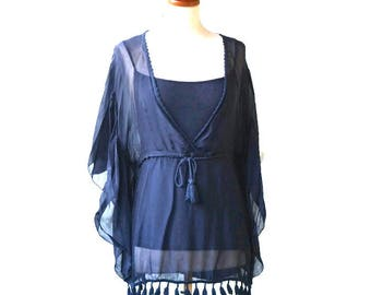 Boho Blue tunique with matching inside top