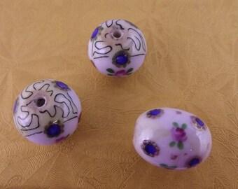 Trio of hand painted Ceramic Beads