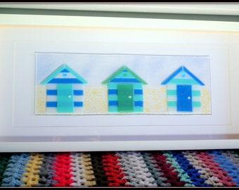 Fused Glass Wall Art, Beach Decor, Beach Hut Art, Beach Hut Gift, Blue Beach Hut, Nautical Decor, Seaside Art, Beach Theme, Summer Art