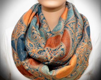 Infinity scarf - Orange Blue Paisley scarf
