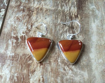 925 Sterling silver Mookaite gemstone earrings