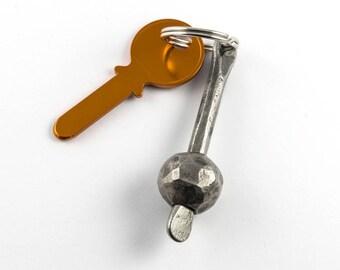 Keyring handforged - ball keychain - forged iron gift