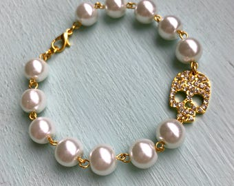 White Pearl and Gold Rhinestone Skull Bracelet, Womens vintage inspired jewelry, Retro, Rockabilly, Pinup