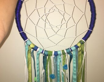 Baby Boy Dream Catcher, Sapphire, turquoise and green (12 inches)