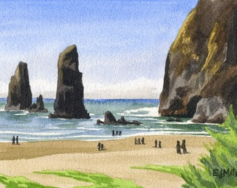 Cannon Beach Oregon art print, Haystack Rock watercolor painting, Oregon coast artwork, Cannon Beach wall art, Goonies beach art print