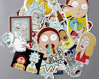Funny Sticker TD ZW 35Pcs/lot Rick and Morty Funny Sticker Decal Car Laptop Bicycle Motorcycle Notebook Funny Sticker Waterproof Stickers
