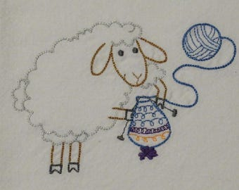 Knitting Sheep Towel