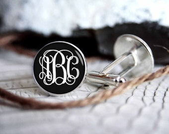 Monogrammed initials personalized cufflinks, IN16 cool gifts for men, custom wedding silver plated or black cufflink