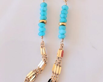 Apatite Dangle Earrings, Wedding Earrings, Beaded Apatite Earrings