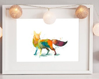Multicolor Fox original watercolor painting 8 x 10 inches or reproduction formats to choose