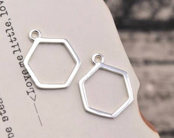2 pcs sterling silver hexagon charm geometry pendant  , QY1