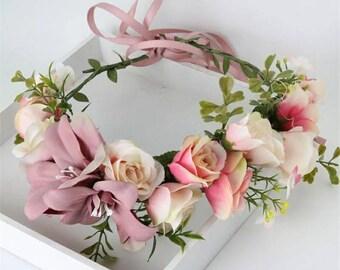 Wedding Flower Crown Bridal Floral Crown Flower Headband Wedding Flower garland Wedding headband Maternity Shoot