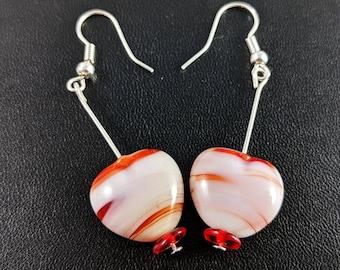 Hypoallergenic Nickel Free Love Heart Lampwork Art Glass Vintage Style Earrings