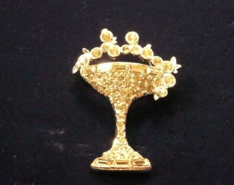 Rhinestone Glass of Champagne Pin