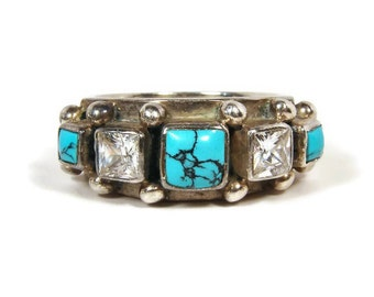 KUMKUM Sweden Turquoise Ring, Sterling Silver, White Zircon, Size 7, Estate Jewelry, Spider Web Turquoise, Estate Ring