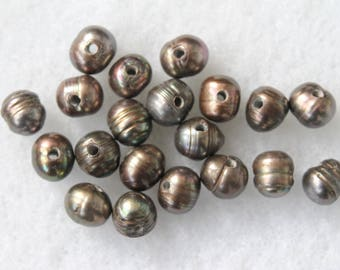 Large 2mm Hole Potato Ringed Iron Grey Freshwater Pearl Beads 10-11x9-10mm - 20 Pcs