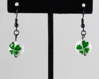 Lucky Four Leaf Clover Glass Bead Earrings