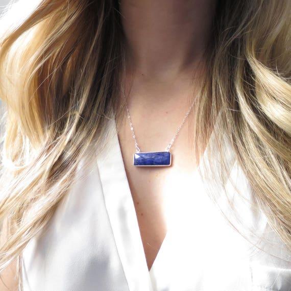 Silver Sapphire Quartz Necklace