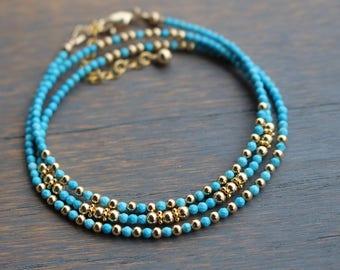 turquoise beaded bracelet, turquoise wrap bracelet, minimalist beaded  bracelet, womens' bracelet, stacking bracelet, boho glam bracelet