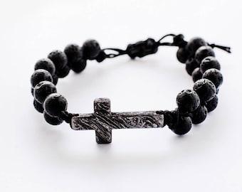 Cross damascus, bracelet with cross, damascus pendant