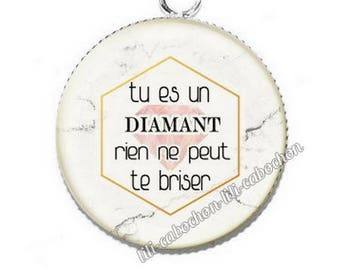 Cabochon resin classified text 3 diamond pendant