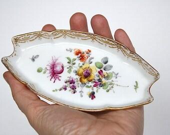 Antique Limoges Trinket Dish - Vintage Limoges Trinket Tray - Martial Redon Limoges Porcelain - Floral Bedroom Decor - Cottage Chic Decor -