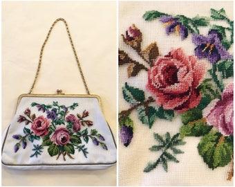 1950s Petit Point Floral Evening Bag