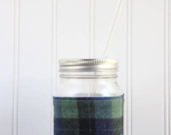 Blue & Green Plaid Flannel Mason Jar Sleeve - for PINT size Mason Jar (16 oz)