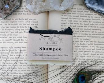 Activated Charcoal Shampoo Bar, solid shampoo, cold process, artisan soap, natural soap