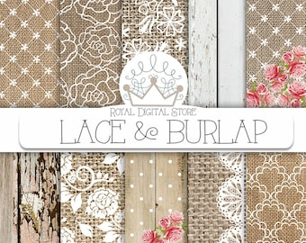 """Burlap Lace Digital Paper:""""Burlap Lace Digital Paper"""" with brown burlap background, white lace background, burlap lace texture, wood texture"""